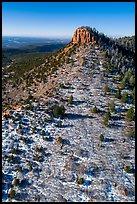 Aerial view of snowy West Bears Ears Butte. Bears Ears National Monument, Utah, USA ( )