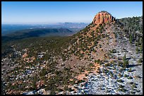 Aerial view of West Bears Ears Butte with snow. Bears Ears National Monument, Utah, USA ( )