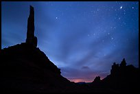 Spire silhouettes and stars, Valley of the Gods. Bears Ears National Monument, Utah, USA ( )