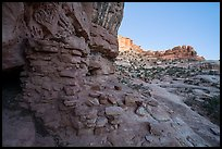 Ruined wall in Bullet Canyon at twilight. Bears Ears National Monument, Utah, USA ( )