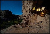 Jailhouse Ruin under moonlight with light from window. Bears Ears National Monument, Utah, USA ( )