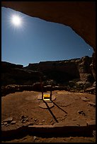 Perfect Kiva and alcove with moon at night. Bears Ears National Monument, Utah, USA ( )