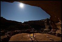 Light from Perfect Kiva and moon. Bears Ears National Monument, Utah, USA ( )