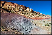 Multicolored badlands and cliffs, Burr Trail. Grand Staircase Escalante National Monument, Utah, USA ( )