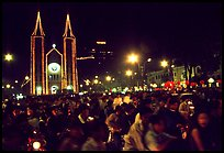 Crowds gather in front of the Cathedral St Joseph for Christmans. Ho Chi Minh City, Vietnam