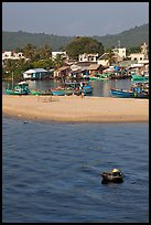 Basket boat, beach and harbor, Duong Dong. Phu Quoc Island, Vietnam (color)