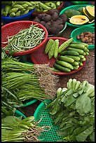 Close-up of vegetable in baskets, Duong Dong. Phu Quoc Island, Vietnam