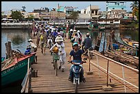 Crossing the mobile bridge over Duong Dong river, Duong Dong. Phu Quoc Island, Vietnam ( color)