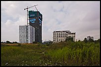 High rise towers in construction on former swampland, Phu My Hung, district 7. Ho Chi Minh City, Vietnam ( color)