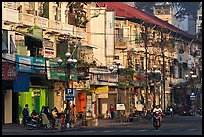 Facades of colonial-area townhouses. Ho Chi Minh City, Vietnam ( color)