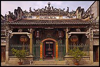 Facade, Thien Hau Pagoda, district 5. Cholon, District 5, Ho Chi Minh City, Vietnam (color)