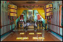 Prayer room, Saigon Caodai temple, district 5. Ho Chi Minh City, Vietnam (color)