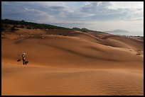 Coastal sand dunes with sea in distance and local woman. Mui Ne, Vietnam ( color)