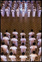 Men and women dressed in white stand in opposing rows in Cao Dai temple. Tay Ninh, Vietnam (color)