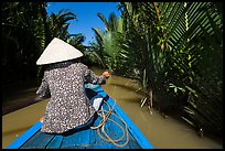 Woman rowing boat in canal lined up with vegetation, Phoenix Island. My Tho, Vietnam ( color)