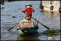 Woman paddling boat with breads, Cai Rang floating market. Can Tho, Vietnam (color)