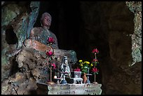 Altar and Buddha statue in cave. Da Nang, Vietnam ( color)