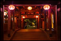View through the inside of Covered Japanese Bridge at night. Hoi An, Vietnam (color)