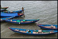 Blue fishing sampans from above. Vietnam ( color)