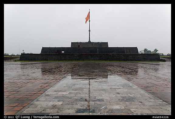 Flag monument in the rain. Hue, Vietnam