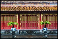 Facade with red and golden doors, imperial citadel. Hue, Vietnam ( color)