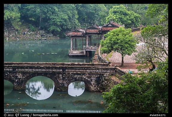 Stone bridge, pavilion, and Luu Khiem Lake, Tu Duc Tomb. Hue, Vietnam
