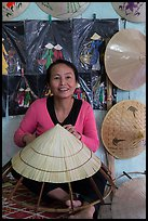 Woman making the Vietnamese conical hat. Hue, Vietnam ( color)