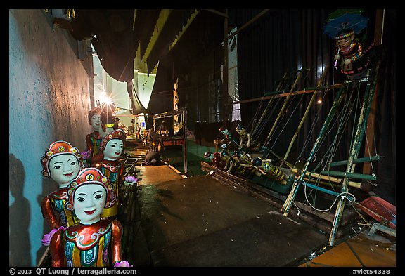 Water puppet theater backstage, Thang Long Theatre. Hanoi, Vietnam