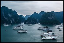 Tour boats and karstic islands from above. Halong Bay, Vietnam ( color)