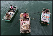 Women selling sea shells and perls from row boats. Halong Bay, Vietnam ( color)