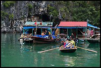 Floating houses, Vung Vieng village. Halong Bay, Vietnam (color)