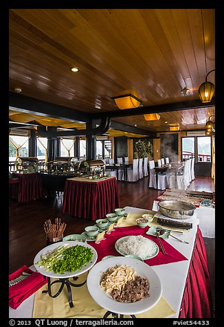 Pho buffet in tour boat dining room. Halong Bay, Vietnam