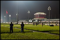 Ba Dinh Square and Ho Chi Minh Mausoleum at night. Hanoi, Vietnam (color)