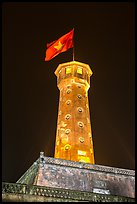 Flag tower at night, Thanh Long Citadel. Hanoi, Vietnam (color)