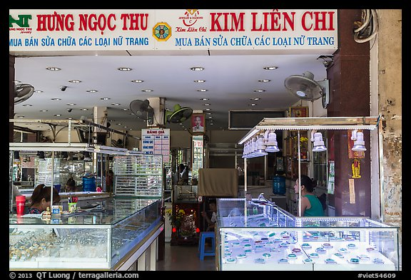 Jewelery and gold store, district 5. Ho Chi Minh City, Vietnam (color)