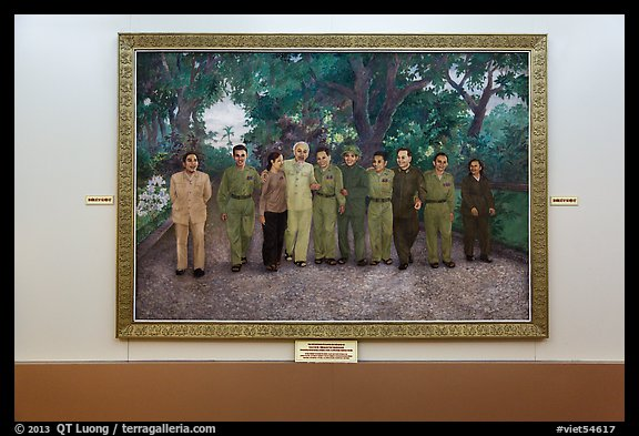 Painting of Ho Chi Minh with comrades. Ho Chi Minh City, Vietnam