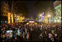 Le Loi boulevard crowds on New Year eve. Ho Chi Minh City, Vietnam