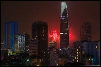 New Year fireworks. Ho Chi Minh City, Vietnam (color)