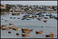 Fishing boats and village. Mui Ne, Vietnam ( color)