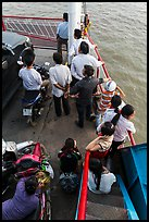 People on ferry seen from above. Mekong Delta, Vietnam ( color)