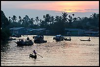 Boats and river at sunrise, Phung Diem. Can Tho, Vietnam (color)