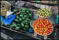 Vegetables and fruit for sale on boat, Phung Diem. Can Tho, Vietnam (color)