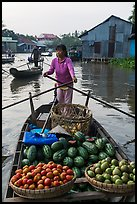 Woman paddles boat loaded with fruits and vegetable, Phung Diem. Can Tho, Vietnam (color)