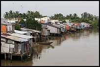 Riverside houses on stilts. Mekong Delta, Vietnam (color)