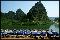 Tour boats and forest-covered limestone rocks, Son Trach. Vietnam (color)