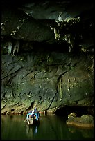 Boat and tunnel, Phong Nha Cave. Vietnam