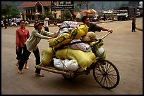 Bicyle loaded with goods at the border crossing with China at Dong Dang. Lang Son, Northest Vietnam (color)