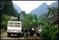 Unloading of a bus in a mountain village. Northeast Vietnam