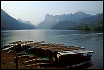 Boats on the shores of Ba Be Lake. Northeast Vietnam