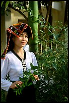 Young Thai woman in traditional dress, Son La. Vietnam ( color)